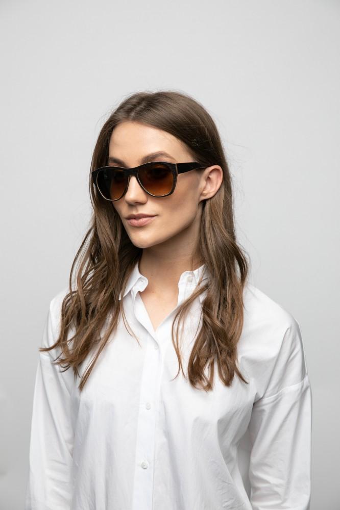 Uriel Sun Black Unisex Sunglasses Wooden Sunglasses